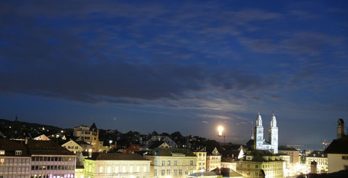 A full moon over Zurich