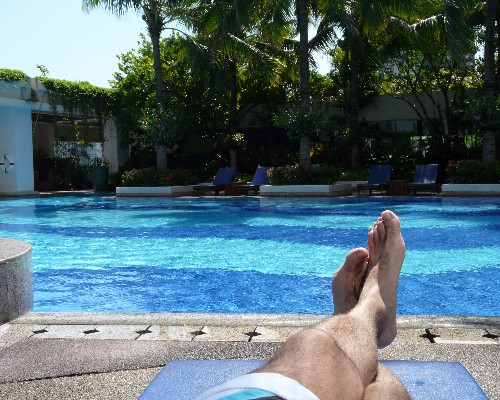 Lounging by the pool in Bangkok