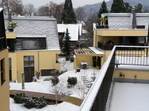 Our neighbours' houses, covered in snow