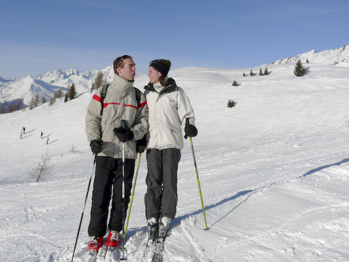 Francois and Gratiane on the slopes