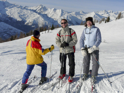 Francois, Aude and Matthew on the slopes