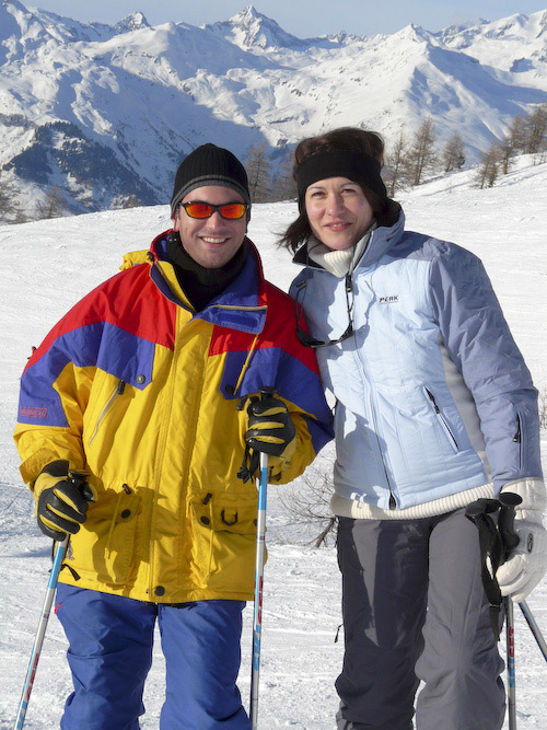 Matthew and Aude on the slopes