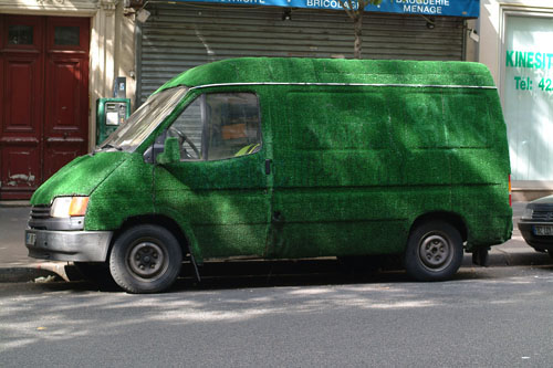 Green transport - van covered with artificial grass