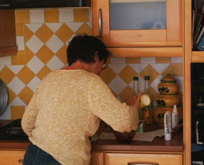 Aude's mother, hard at work preparing Easter lunch