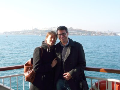 Matt and Aude on the ferry from the Asian side of Istanbul to the European side