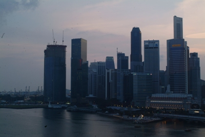 The view from the hotel room over the Singapore harbour