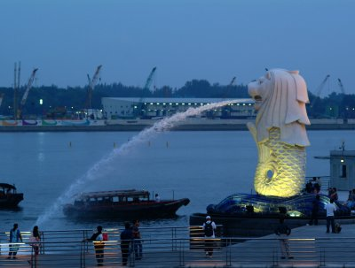 The Singapore Merlion by night
